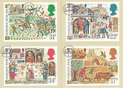 Medieval Life 1986 Great Britain 4 PHQ Cards (Stamps on Front)