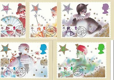 Pantomime Christmas 1985 Great Britain 5 PHQ Cards (Stamps on Front) Theater