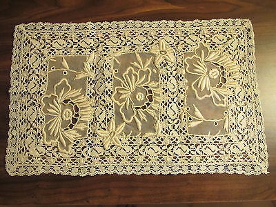 Antique Lace Doily Embroidered Placemat Whitework Table Tray Mat Centerpiece