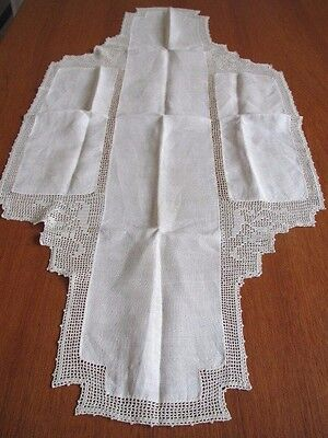 Antique Runner Linen Filet Crochet Edging Table Cover Drop Down Sides Ecru