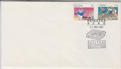 Cycling Bowling Australia 1991 cover with Flinders Park Tennis Centre postmark