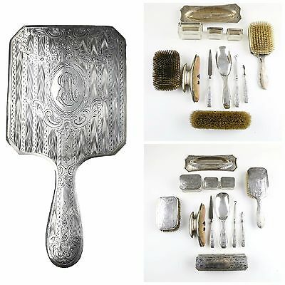Lot of 13x Vintage Sterling Silver Engraved Initial Grooming Tool & Brush Set