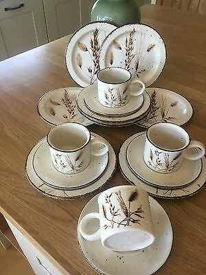 Midwinter Wild Oats Tea Plates and cups and saucers
