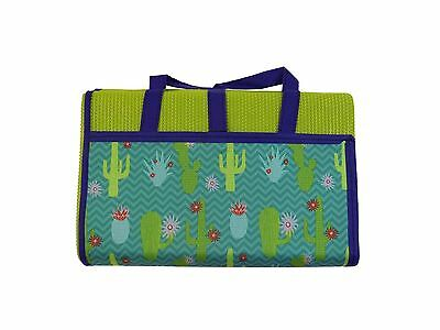 Cartoon Cactus Flowers Green Large Family Sized Carrying Beach Mat 150 X 180Cm