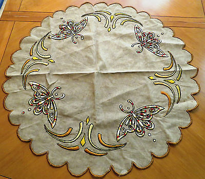 Antique Tablecloth Embroidered Table Cover Round Centerpiece Arts and Crafts 32""