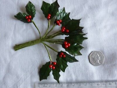 1 x 12 Artificial Double Holly leaves & Berries - Stem spray bunch-cakes,favours