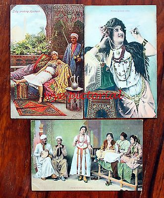 Egypt Cairo 3 Postcards Ladies Smoking Dancing Early 1900's