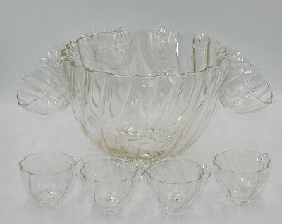Vintage Hazel Atlas Seashell Colonial Swirl Glass Punch Bowl With 12 Hooked Cups