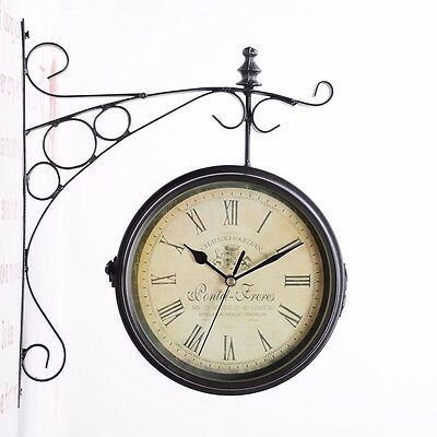 Outdoor Garden Paddington Station Outside Bracket Wall Clock 23Cm Double Sided