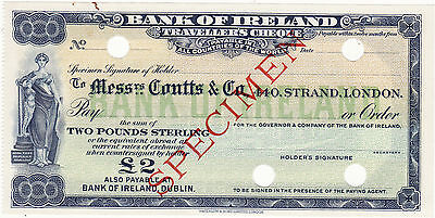 Vintage Specimen Travellers cheque Bank of Ireland 2 £ 1960s' Rare