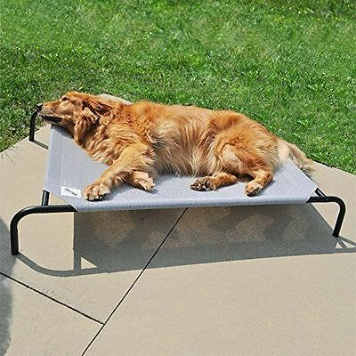 New Dog Elevated Bed Outdoor Indoor Raised Steel Frame Weatherproof Grey Pet