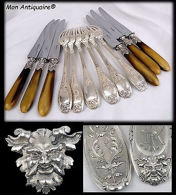 RARE ANTIQUE FRENCH STERLING SILVER DINNER FLATWARE Empire Gothic Mascaron 12pc