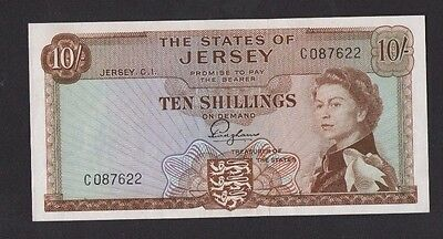 JERSEY 1963 10/- SHILLING BANKNOTE PREFIX C,   HIGHLY COLLECTABLE gEF--AU