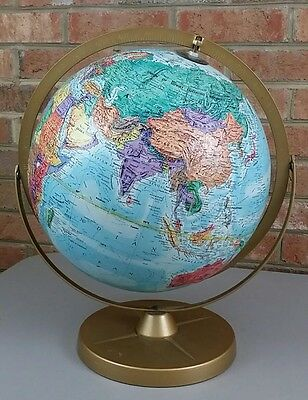 "Replogle World Nation Series 12"" Globe Metal Stand Base Raised Relief Vtg USSR"