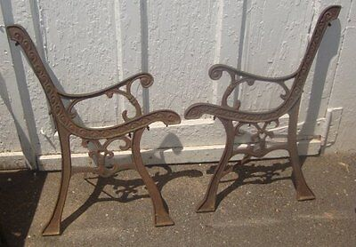 Victorian Vintage Lacy Cast Iron Park Bench Ends Scrolls Outdoor Antique Old!