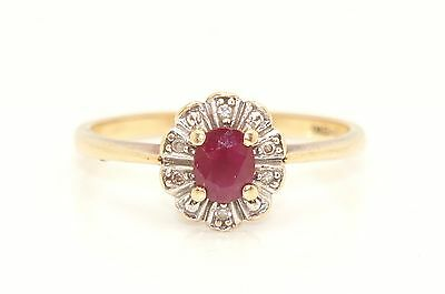 Stunning 9 Ct Gold Ruby & Diamond Cluster Ring, Size O