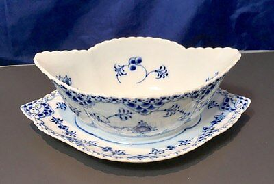 Royal Copenhagen Blue Fluted Full Lace Gravy Boat with stand trimmed edge - NEW