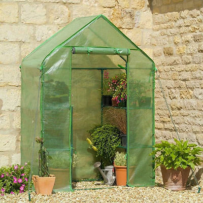 Walk in Garden Greenhouse with Shelves Polytunnel Steeple Grow House New