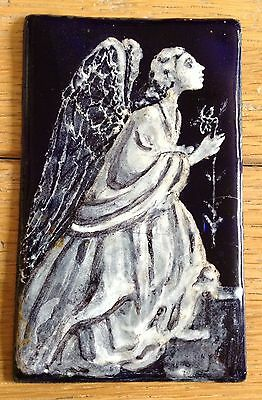 Beautiful Vintage Antique Blue & White Enamel On Copper Of An Angel