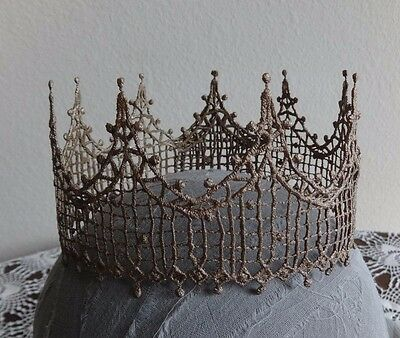 The Katelyn--Lace Halo Crown Headpiece-available in 6 colors Gold Silver Bronze