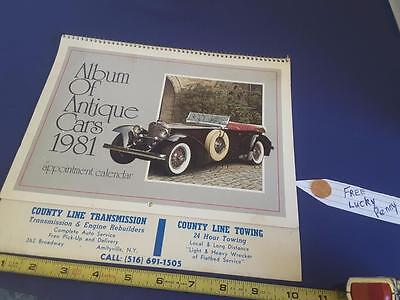 Album of Antique cars 1981 complete calendar FREE SHIP + FREE lucky PENNY !!
