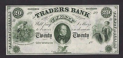 Usa The Traders Bank Of Richmond $20 Remainder Banknote In Unc Condition