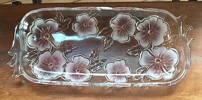 Mikasa Clear Glass Serving Platter Tray w/ Pink Frosted Flowers Floral Pattern