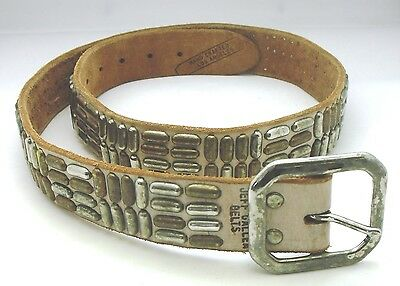 """Jeff Gallea Unisex Leather and Silver Studded Belt 40"""""""
