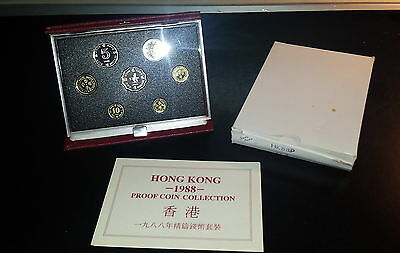Hong Kong 1988 7-Coin Proof Set in Gem Condition with Box and COA