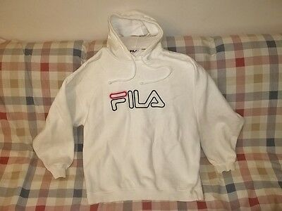 Vtg 1990's FILA SPELL-OUT HOODIE HOODED SWEATSHIRT Size L Made In Canada