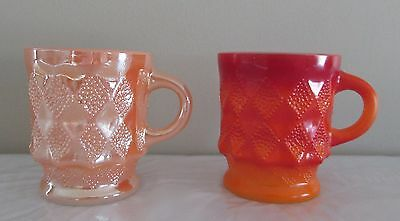 Vintage 2 Fire King Fireking Anchor Hocking Cup Mug Kimberly Red Peach Luster