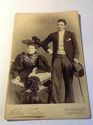 cabinet card,c1890,finely dressed couple,fantastic ladies hat,weston of london