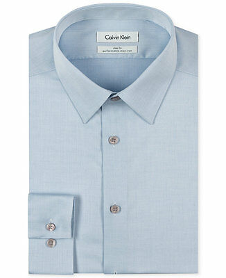 $94 CALVIN KLEIN Men SLIM-FIT BLUE LONG-SLEEVE NON-IRON DRESS SHIRT 16.5 34/35 L