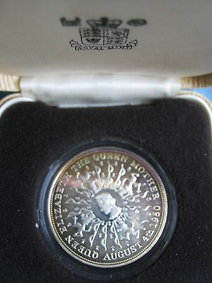 UK British 1980 Silver Proof Crown Coin Queen Mother 80th Birthday cased