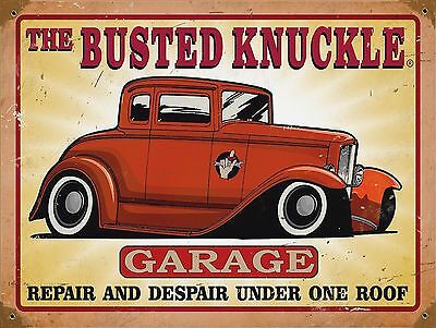 Busted Knuckle , Retro metal Aluminium Sign vintage wall garage man cave shed