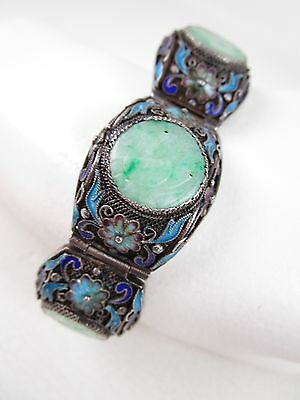 Antique Chinese Export Silver Filigree Carved Pierced Jade Jadeite Bird Bracelet