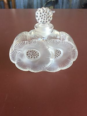 LALIQUE FRANCE DUEX FLUERS FLOWER CRYSTAL PERFUME BOTTLE Authentic signed