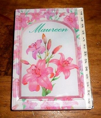 """Vintage RUSS Hard shell Acrylic cover Address Book Named """"Maureen"""" FAST SHIP!!!"""