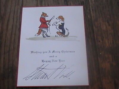 Franklin Brooke Voss Brother Signed Merry Christmas Foxhunting Hounds 1930's