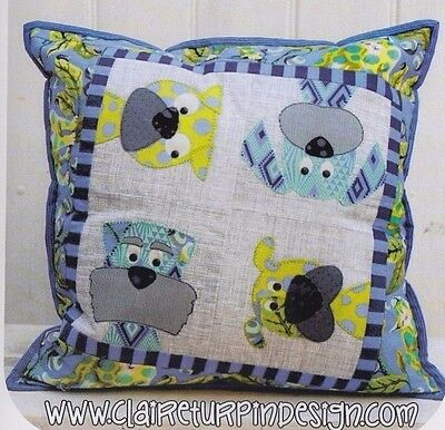PATTERN - Woofers - cute applique pillow PATTERN - Claire Turpin