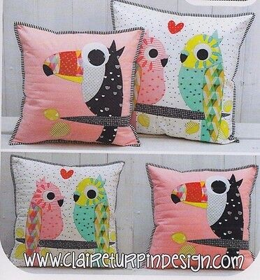PATTERN - Tweets - cute applique pillow PATTERN - Claire Turpin