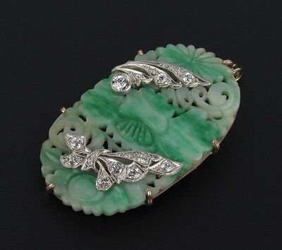 Vintage 14K and Platinum Diamond and Jade Pendant Brooch