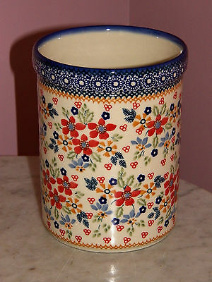 Genuine Hand Made Polish Pottery UNIKAT Kitchen Utensil Jar! Merici Pattern!