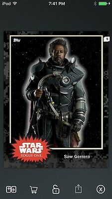 Topps Star Wars Digital Card Trader Black Saw Gerrera Base 4 Variant