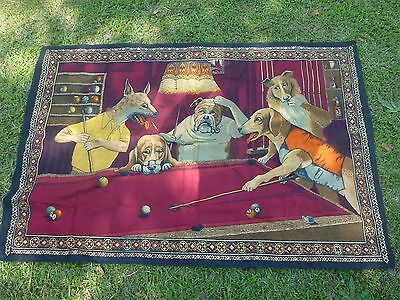 Vintage Dogs Playing Pool Tapestry Apx 38x58 Inches