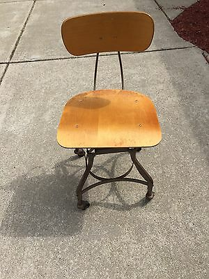 (1) Toledo Steampunk Steel (UHL) Industrial Swivel Student Drafting Chair Stool