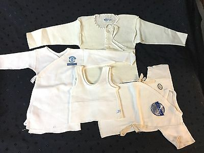 Vintage Antique 1950s Wool Baby undershirts clothes Wooltex - Lot Of 4