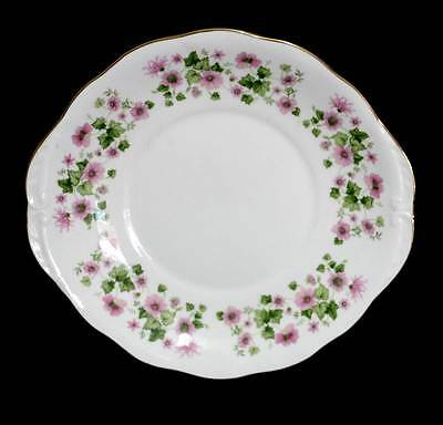 Vintage Queen Anne stunning pink & green floral cake plate
