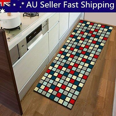 Anti-slip Colorful Squares Soft Flannel Door Mat Kitchen Area Floor Bathroom Rug