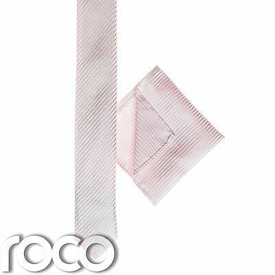Boys Pink Pocket Square, Boys Pink Tie, Striped Tie, Boys Skinny Tie